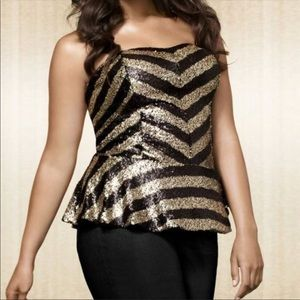 Lane Bryant Gold & Black Striped Sequins Top NWT